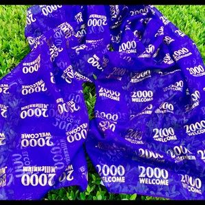 Welcome 2000 Millennium Gold on Purple Scarf